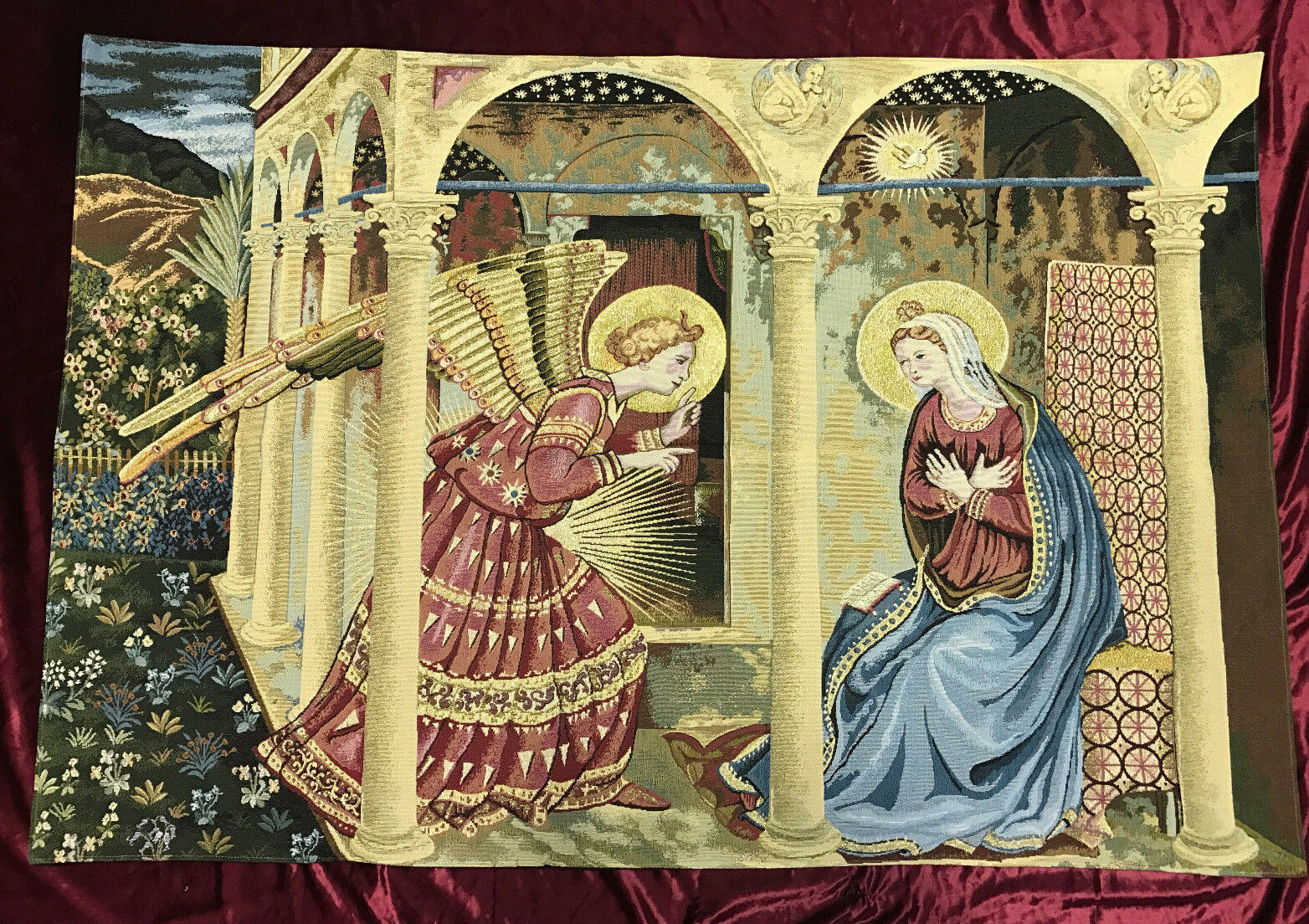 Wandteppich Verkündigung Beato Angelico an Maria Arazzo Tapisserie 140 x 95 cm | Moderne Muster