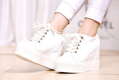Womens Trainer Hidden Wedge Heel Lace Up Athletic Creepers Platform Sports Shoes