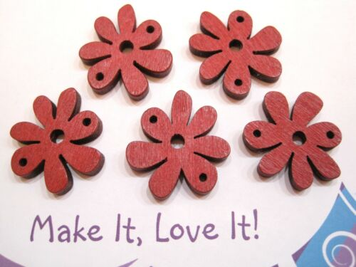 5 x WOODEN FLOWER RED CHUNKY CHARM BEADS CONNECTOR 25MM X 4MM THICK