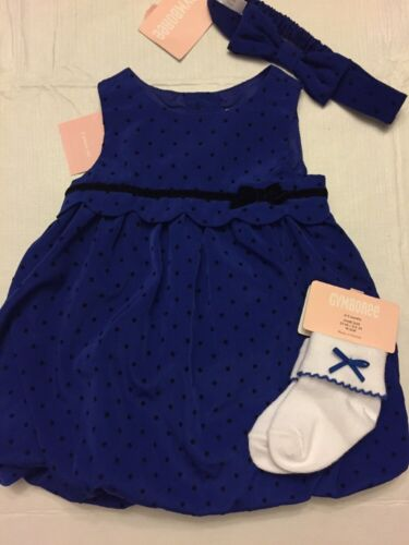 Details about  /NWT Gymboree baby girl HOLIDAY blue dot bubble party DRESS socks SET 0 3 6 9 12