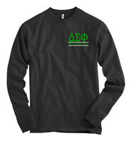 Delta Sigma Phi Bella + Canvas Black Long Sleeve T Shirt Letters