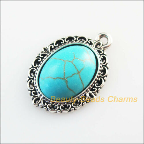 6Pcs Tibetan Silver Tone Oval Heart Flower Turquoise Charms Pendants 16x23mm