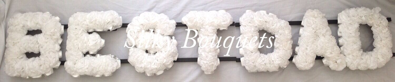 Best Dad Artificial Silk Funeral Flower Dad Any 7 Letter Tribute Wreath