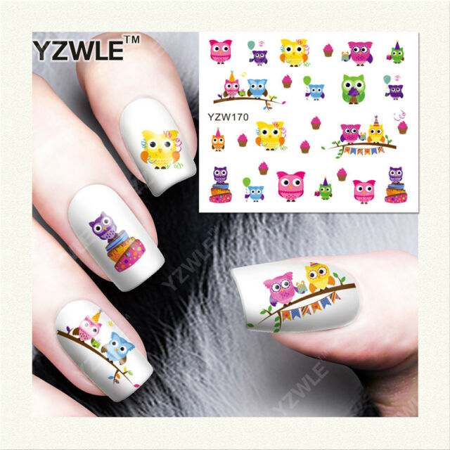 Nail Art Water Decals Stickers Transfers Owls Spring Flowers