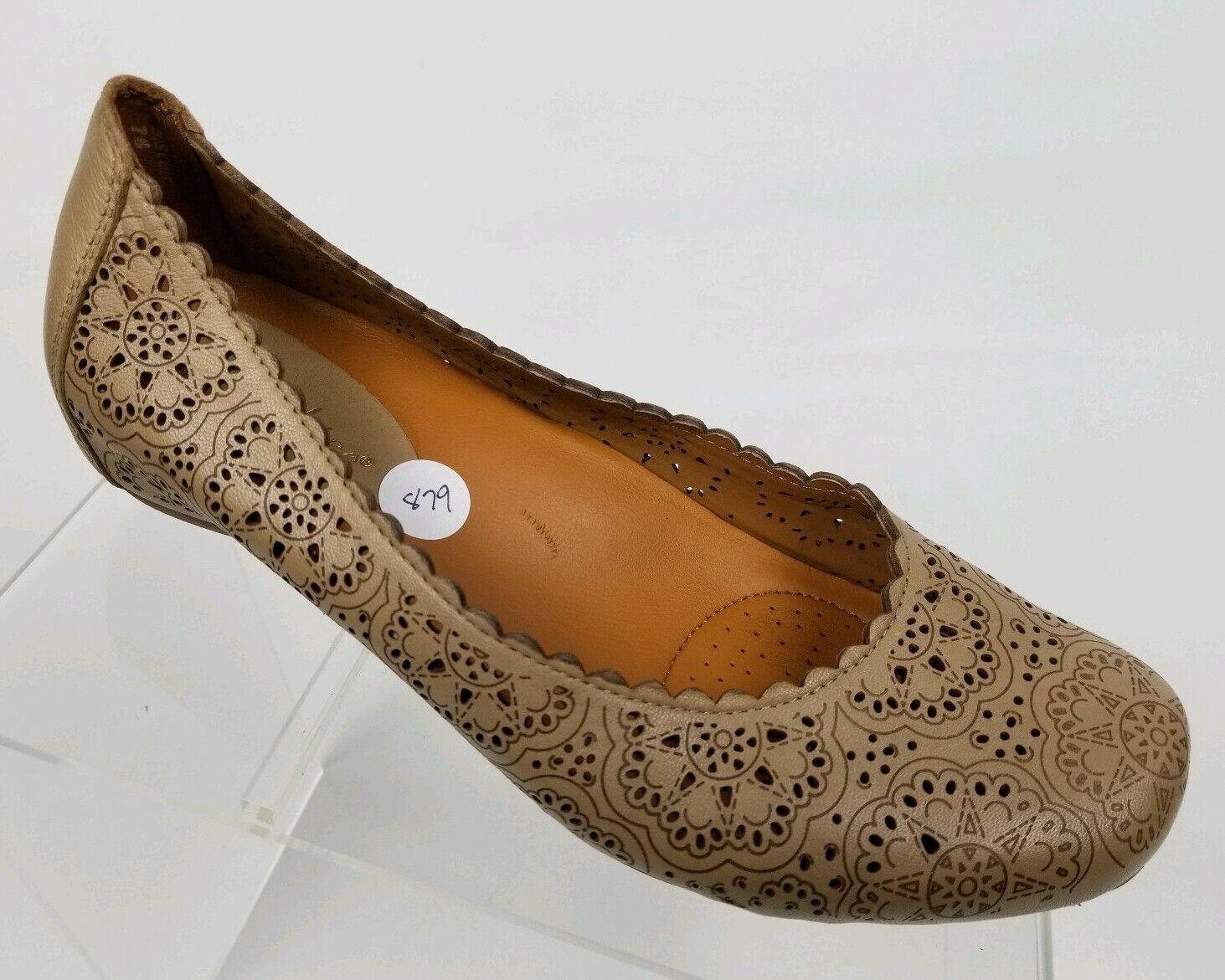 EARTHIES Bindi Women's Ballet Flats Nude Leather Cutouts Slip On shoes Sz 7B