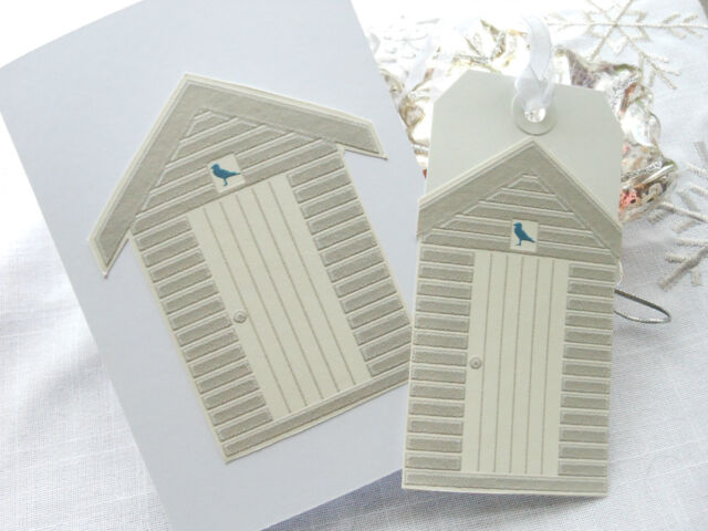 Handmade Taupe Beach Hut Card with Matching  Gift Tag Birthday Thankyou Card