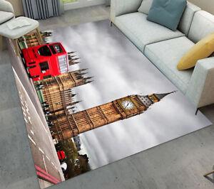 Details about London Big Ben Red Bus Soft Carpet Living Room Bedroom Mat  Floor Decor Area Rugs