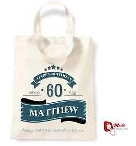 Image Is Loading PERSONALISED 60th Birthday Gift Cotton Tote Bag Banner