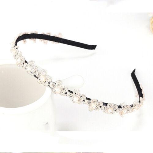Dame Beige Haarband Perle Blume Frauen Spitze Stirnband Zubehör^VC