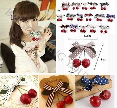 Lovely Stylish Women Girl Lady Retro Vintage Pink Bow Cherry Hair Clip Hairpin