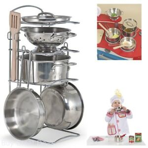 Hand Polished Stainless Steel Pots And Pans Pretend Play Kitchen