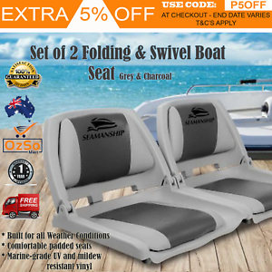 Details about 2X Folding Boat Seats Seat Marine New Boat Chairs Custom  Deluxe - Swivel Fishing