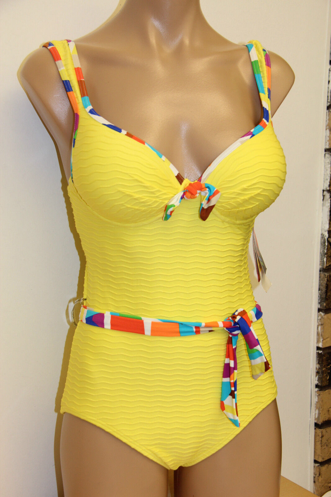 NWT Coco Rave Swimsuit 1 one pc Sz M 34A B Push Up Yellow