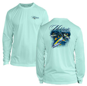 Seafoam Green Long Sleeve Microfiber UPF Fishing Lure Flag Fishing Shirt
