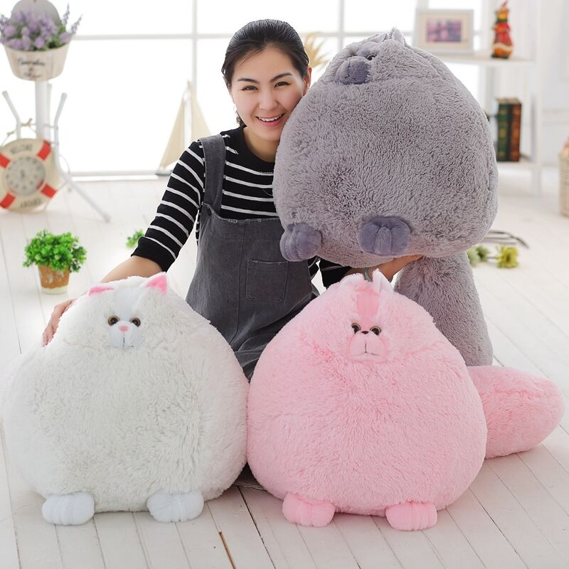 Persian Fat Cat Round Ball Shape Doll Plush Toy Pillow Cushion Free Shipping uk