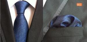 Tie-Pocket-Square-Set-Blue-Patterned-Handmade-100-Silk-UK-Seller