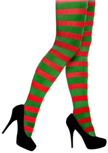 Rosso e Verde a Righe Collant Elfo Grotta Secret Santas Helper Calze di Natale
