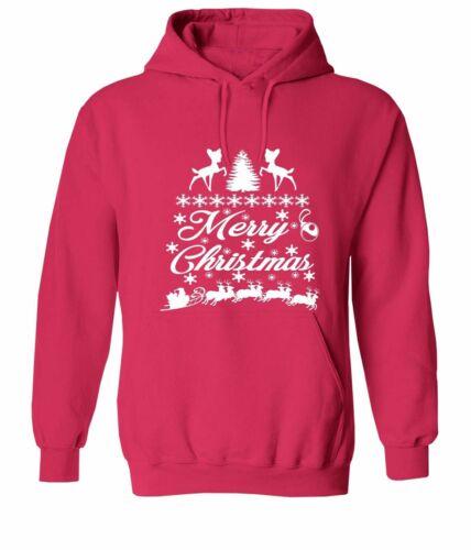 Santa Reindeer Sleigh Ride Christmas Unisex Sweater Pullover Hoodie Gift Shirts