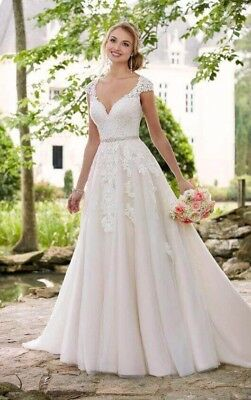 Stella York Wedding Dress Gown Style 6391 Size 8 Lace Tulle