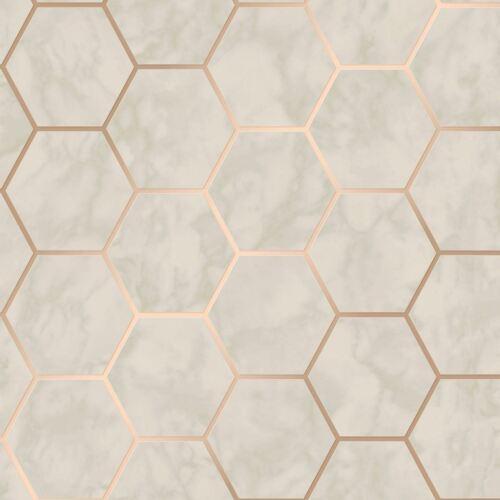 Metro Hexagon Marble Wallpaper Geo Metallic Grey Rose Gold Crown M1512