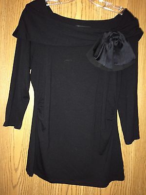 NWT White House Black Market  Off The Shoulders Black Top with Bow Size M