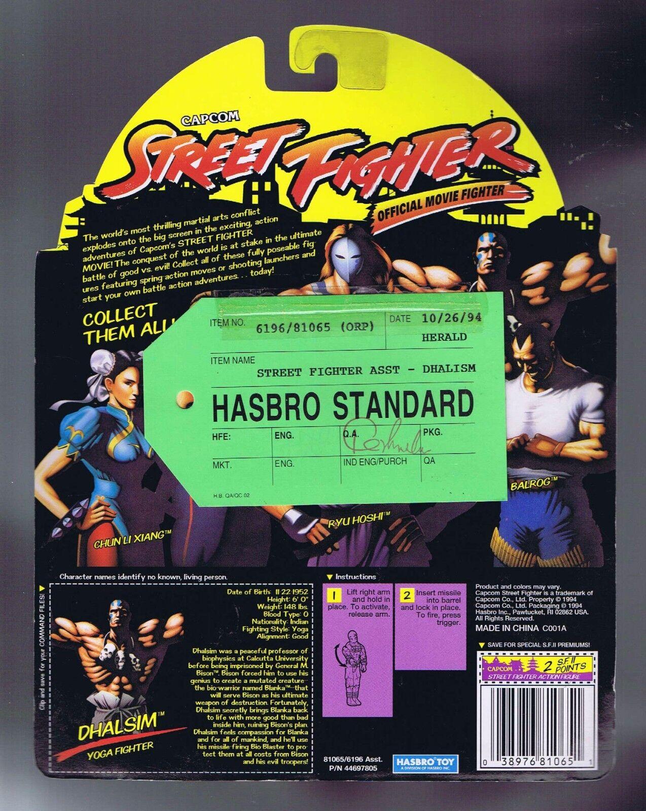 Street Fighter Dhalsim Hasbro Standard Green Tag Sample Figure 1994 MOC Rare PWC