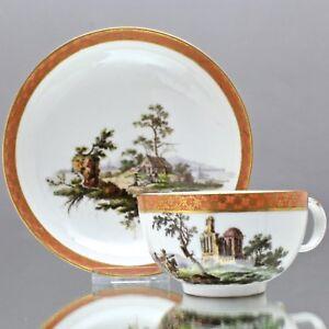 Meissen-um-1780-Tasse-mit-Ruinen-und-Landschaft-Reiter-Teetasse-Marcolini-cup