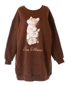 online store 048ab 4c4a7 Details about TS-211-2 Braun Cat Cat Pastel Goth Long Pullover Sweatshirt  Kawaii Soft Cute
