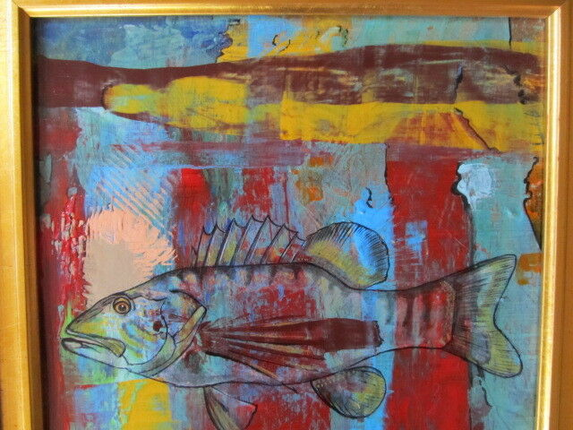 ABSTRACT FINE ART PAINTING ANNETTE GIBSON POATKTH OUTSIDER FISH BASS FRAMED