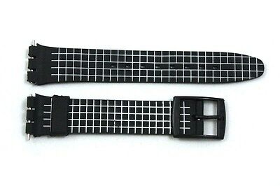 17mm White Checkered Soft PVC Replacement Watch Band Strap fits SWATCH watches