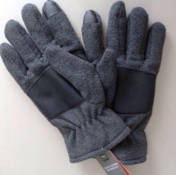 Capable M & S Homme Gants Polaire Thermowarmth Bnwt Gris L/xl, Technologie D'écran Tactile Vente De Fin D'AnnéE