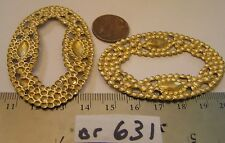 3 Vtg Brass 62x40mm Detailed Fancy Oval Jewelry Findings Stamping Lot craft lot