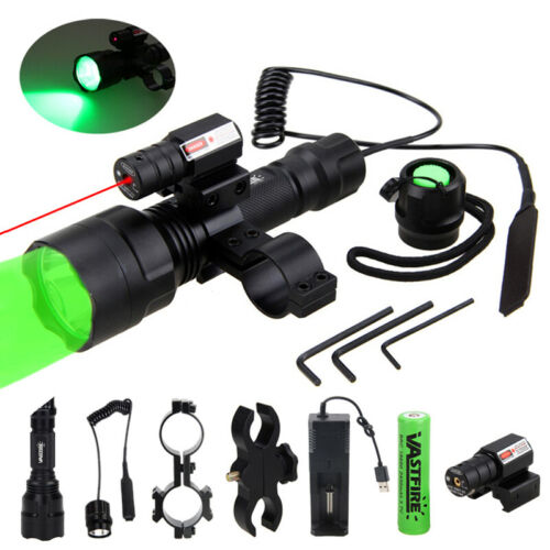 White//Green//Red LED Flashlight Tactical Hunting Torch Scope Mount Switch 18650