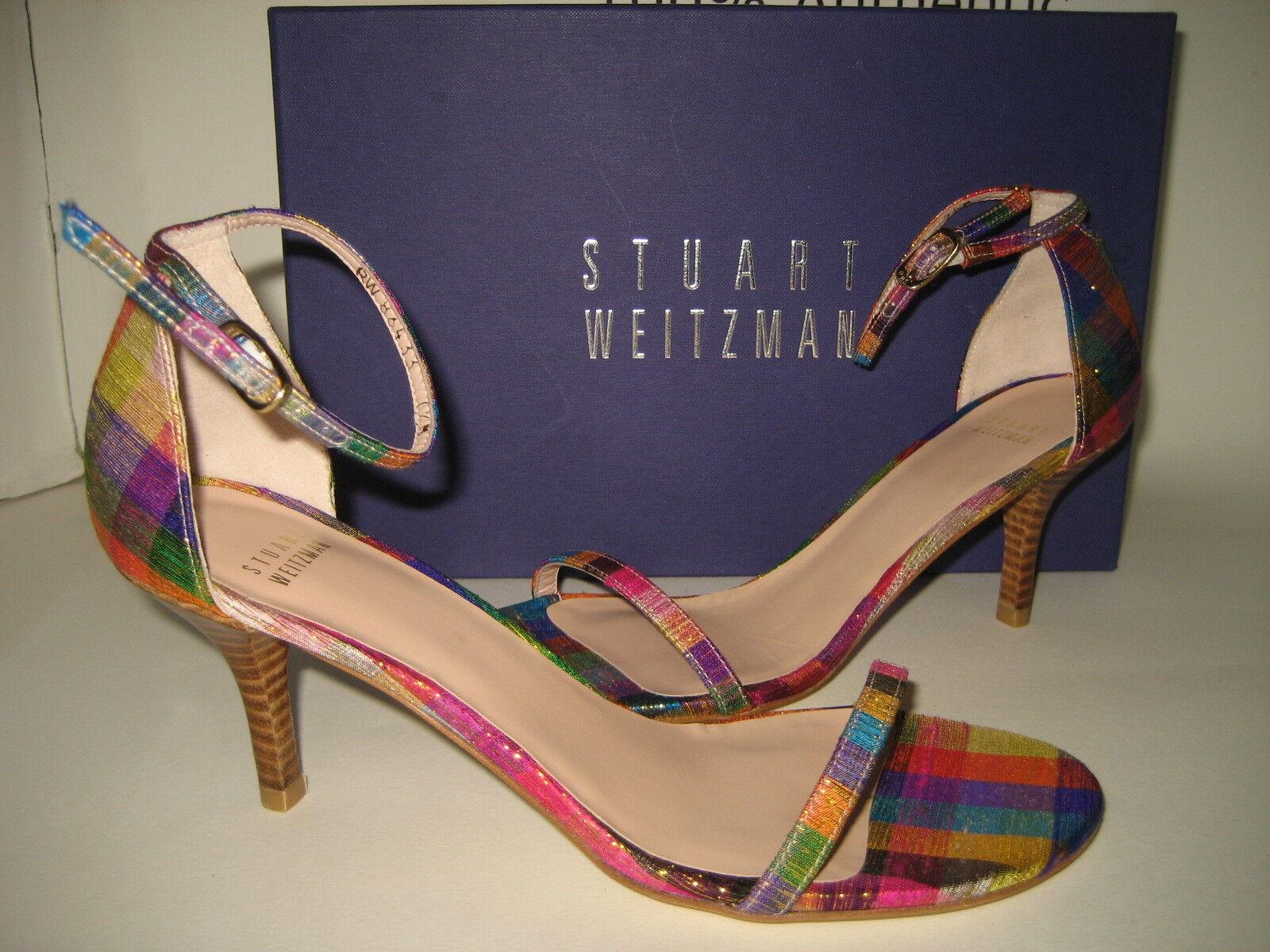 398 Nueva Bx Stuart Stuart Stuart Weitzman Naked oropel Seda Sandalias Us 7.5 alto 3  Tacones Zapatos  Entrega directa y rápida de fábrica