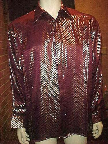 Slim camisa Nwt Gold Xlarge Seta Silver Mens Burgundy a metalizada Silk cuadros n6TqP