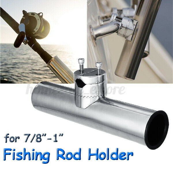 """4PCS Stainless Steel Boat Fishing Rod Holder Adjustable Fit 7//8/""""-1/"""" Rail Mount"""