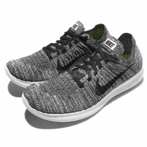New Nike Women's Free RN Flyknit Athletic shoes White Black 831070-100