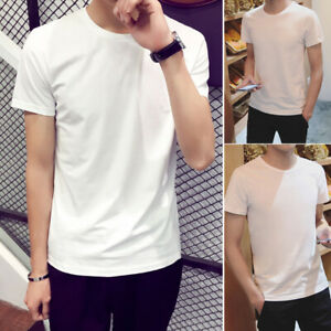 Men-White-Short-Sleeve-Cotton-Slim-Fit-Solid-Basic-Tee-Casual-Top-Tee-T-Shirt