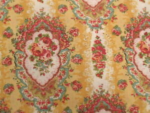 Quilt Gate Cottage Shabby Chic Mary Rose Jessica Cameos Yellow/Gold Fabric BTY