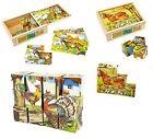 Puzzle in legno a cubi vintage Animali della fattoria, 6 figure 12 dadi cm 3,5