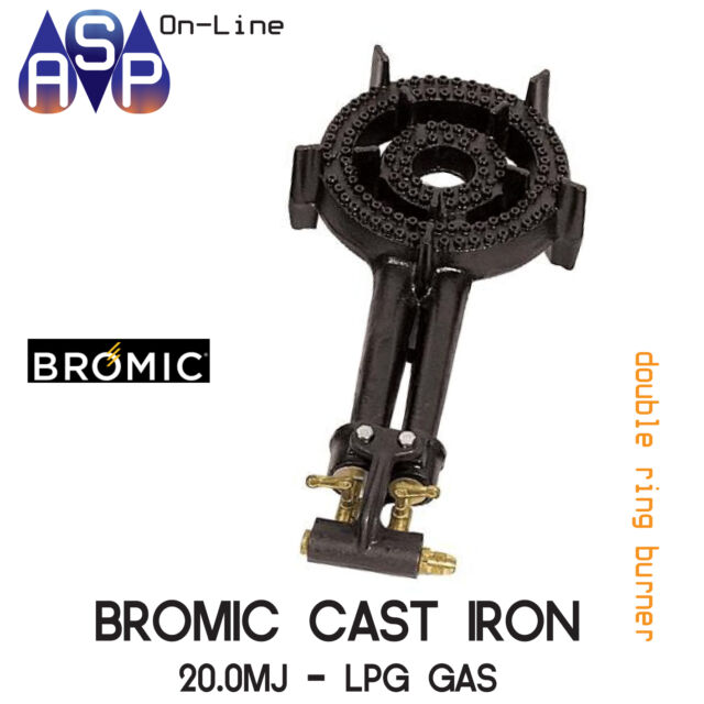 BROMIC CAST IRON DOUBLE RING BURNER COOKER BBQ LPG - 20MJ PER HOUR - PART# RB30