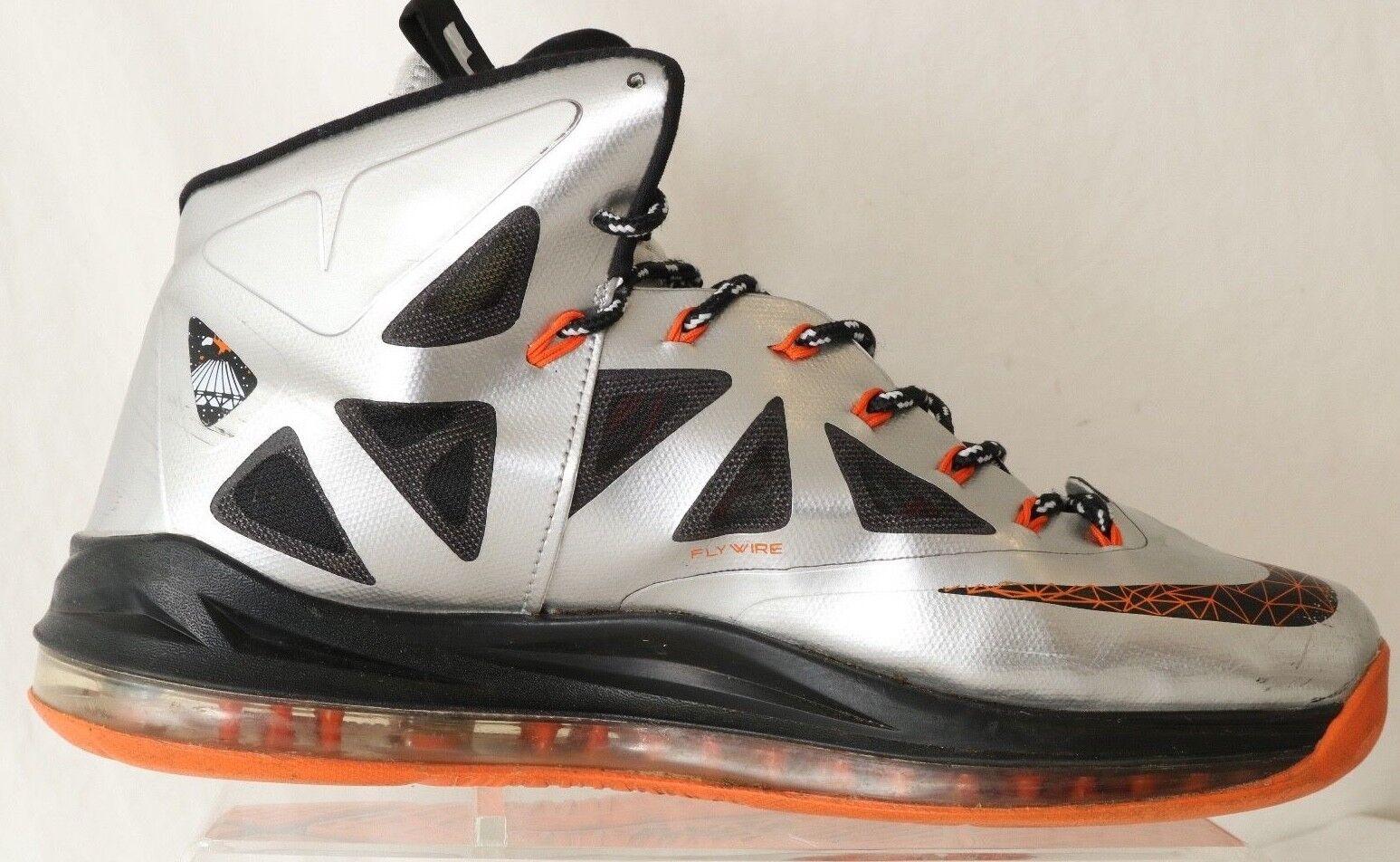 Nike Lebron X10 541100-800 Grey Orange High Top Athletic Basketball Athletic Top Uomo US 11 bb42f7