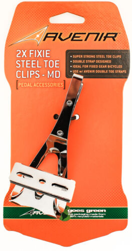 AVENIR 2X FIXIE STEEL TOE CLIPS MD Bike Pedals Strapless Double Strap Silver NEW