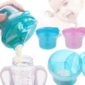 Milk Powder Dispenser 3 Dose Baby Feeding Formula Storage Snack Pot Container UK