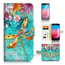 ( For Samsung J7 Pro ) Wallet Case Cover P21095 Dragonfly