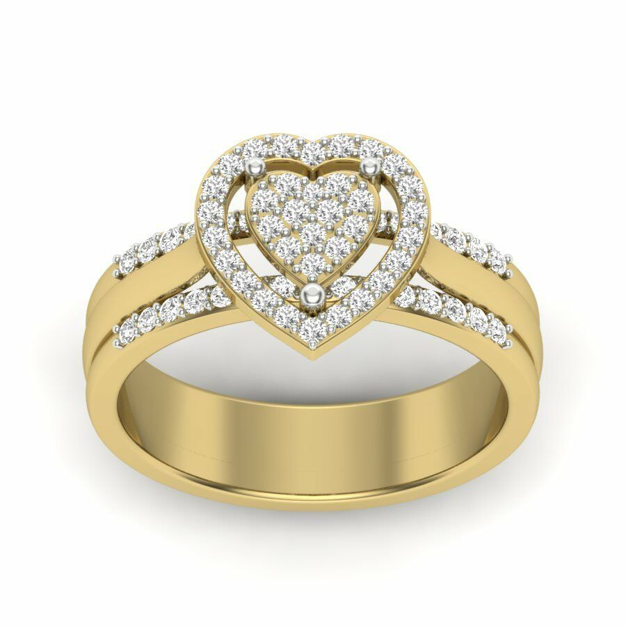 Natural Round Diamond Ring 14k Yellow gold Valentines Special IGI Certified