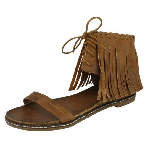 R13A Savannah F0R977 Ladies Camel Fringe Ankle Sandals