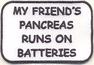 "2"" x 3"" Type 1 Diabetes My Friend's Pancreas Runs on Batteries Fundraising Patch"