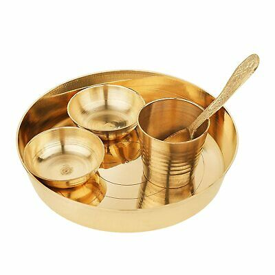 Bowl and Spoon Pack of 1 Gold Plated Pooja Aarti Thali for Home and Temple Bhog Thali with Glass