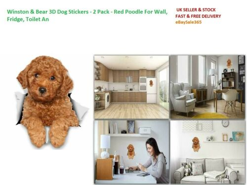 Red Poodle For Wall 2 Pack Toilet An Winston /& Bear 3D Dog Stickers Fridge
